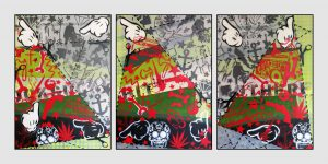 Stencil Collage Red and Green